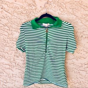 Michael Kors green striped polo with gold zipper